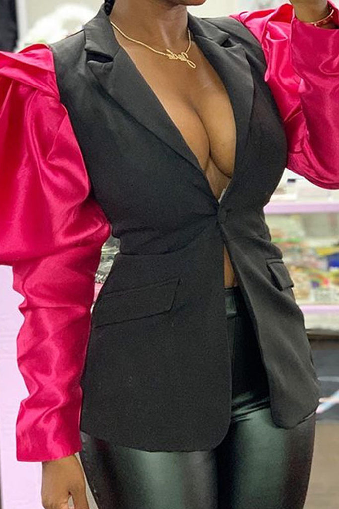 Color Block Puff Sleeve Wide Lapel Blazer