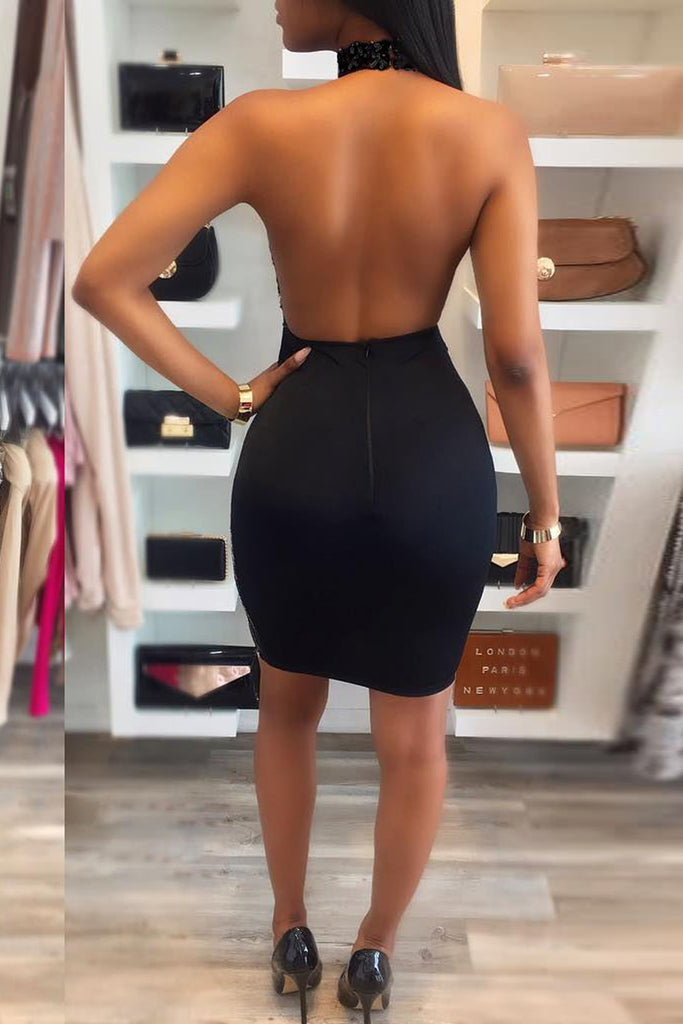 Sequin See-through Open Back Mini Dress