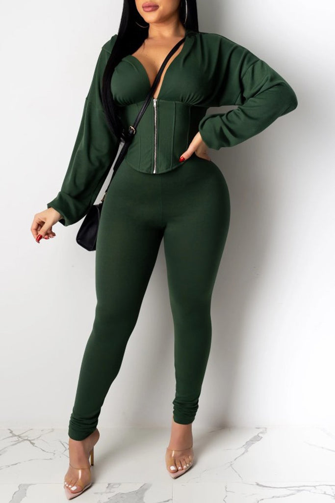 Solid Color Hooded Collar Zipper Top & Pants