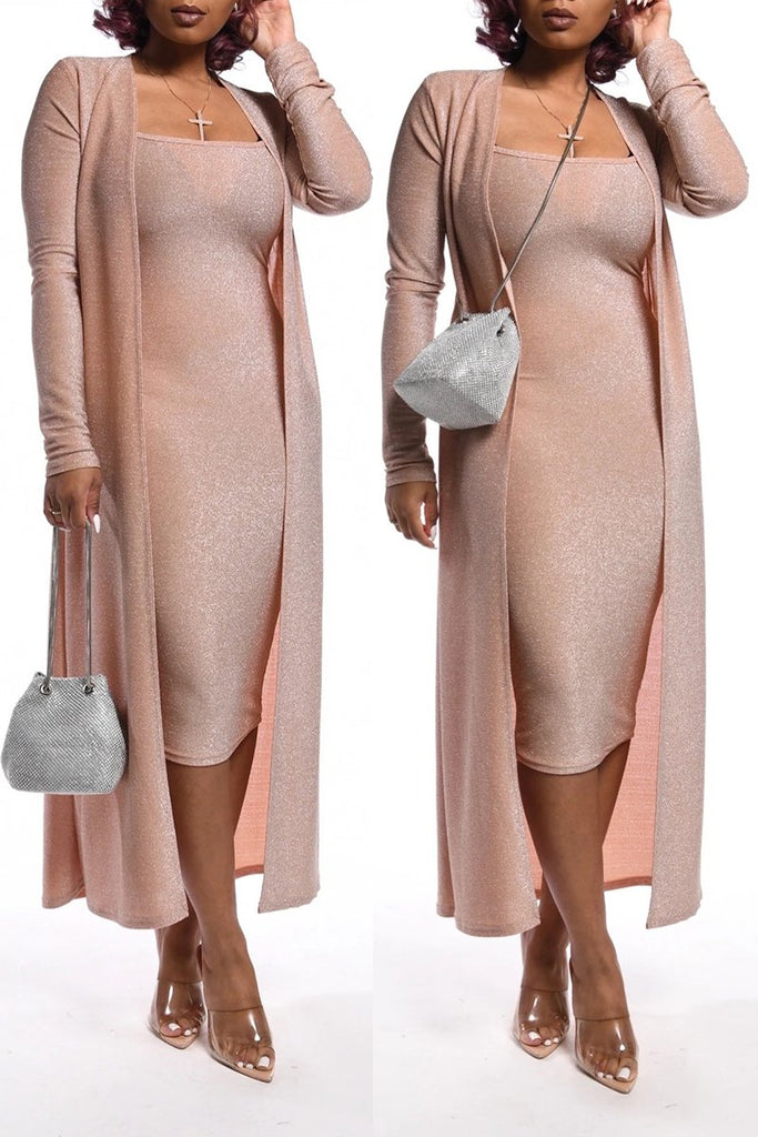 Silver Tissue Solid Color Sleeveless Dress & Cardigan