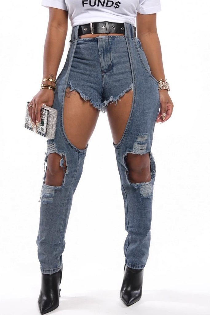 Denim Hole Distressed Zipper Jeans Without Belt