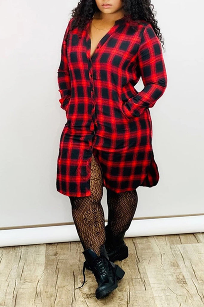 Lattice Button Up Pocket Shirt Dress