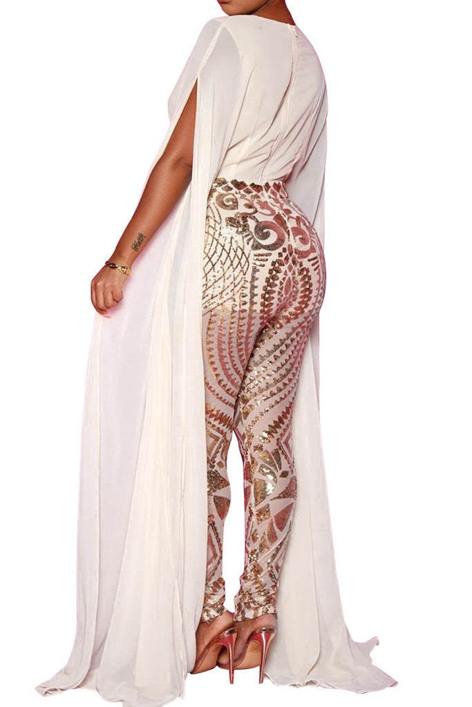 Sequin Deep V Neck See-through Jumpsuit