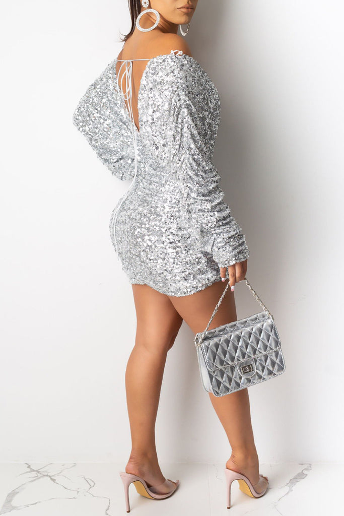 Sequin Off The Shoulder Party Mini Dress
