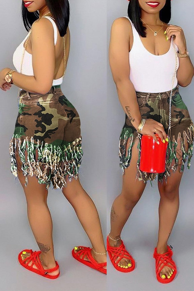 Tassel Hem Plus Size High Waist Shorts
