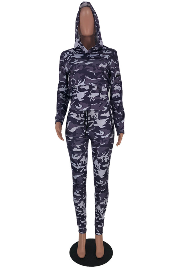 Camouflage Print Hooded Pocket Two Piece Outfits