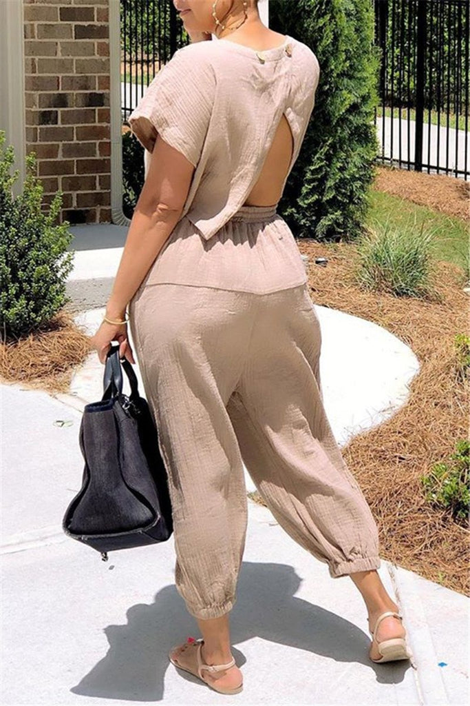 Slit Back Solid Color Drawstring Jumpsuit