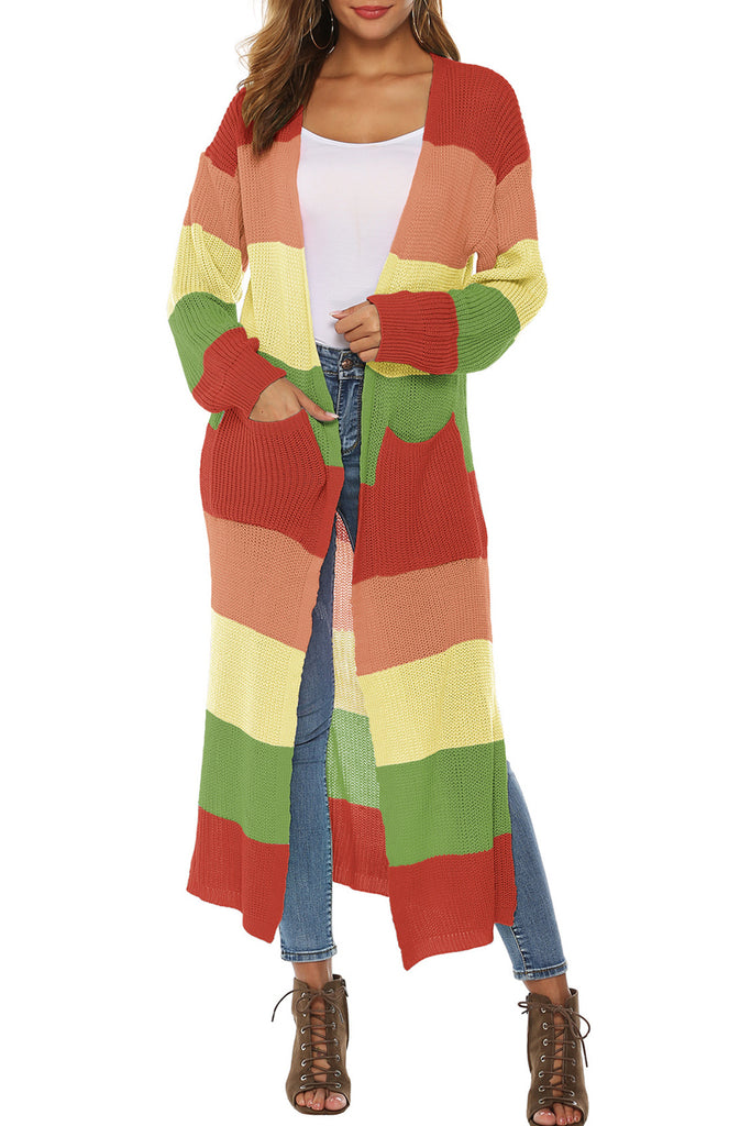 Rainbow Striped Knitted Thicken Cardigan