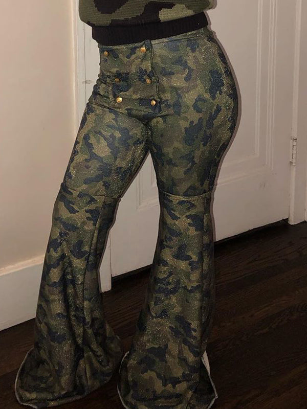 Denim Camouflage Print High Waist Flared Pants