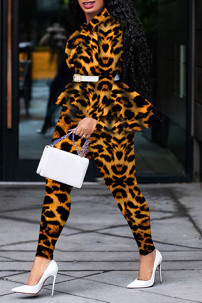 Leopard Print Asymmetric Coat & Pants Without Belt