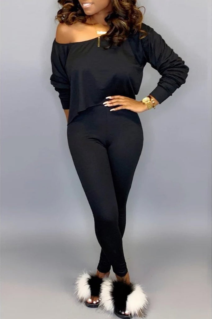 Skew Neck Long Sleeve Solid Color Top & Pants