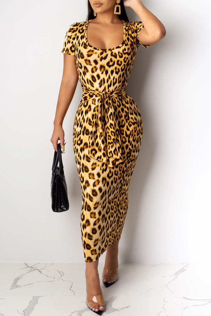 Scoop Neck Leopard Print Lace-up Midi Dress