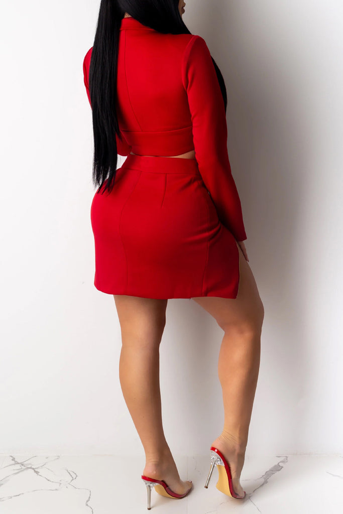 Turndown Collar Zipper Two Piece Mini Dress