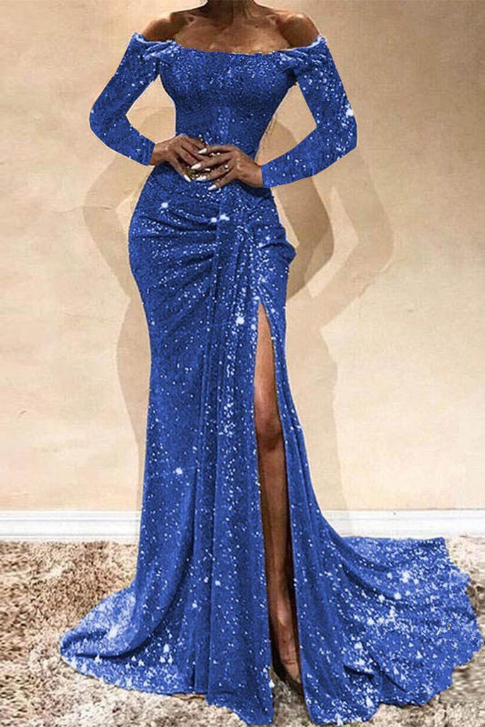 Off The Shoulder Sequin High Slit Maxi Dress