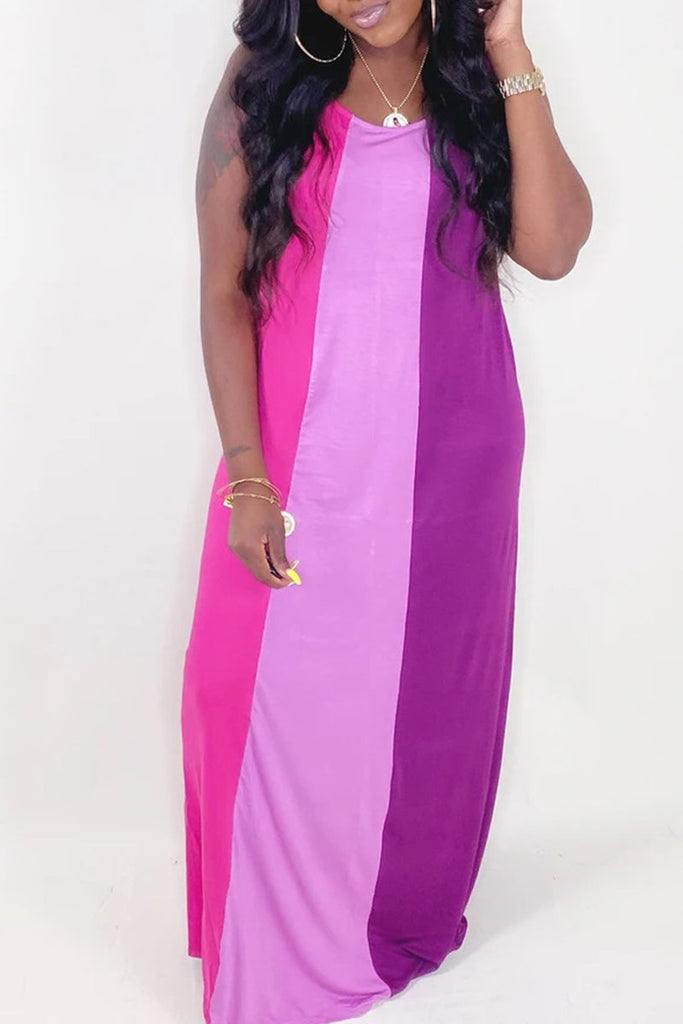Patchwork Sleeveless Striped Maxi Dress
