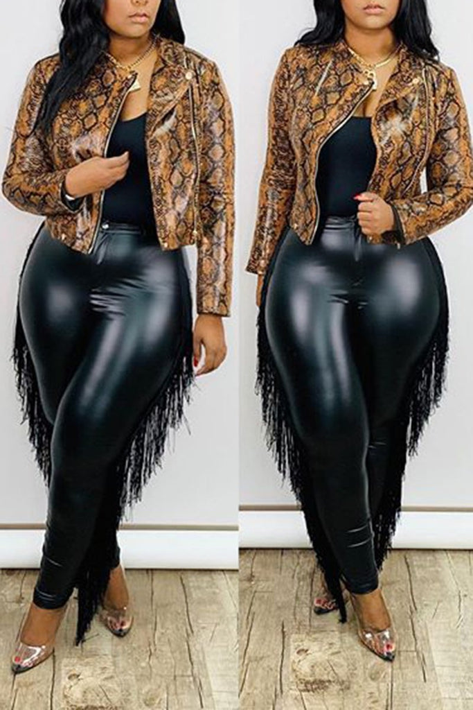 Zipper Up Snake Print Long Sleeve Jacket