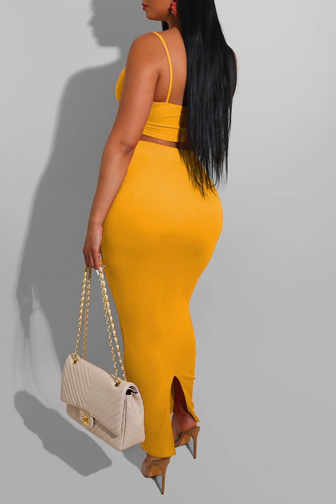 Rib Solid Color V-Neck Two Piece Dresses