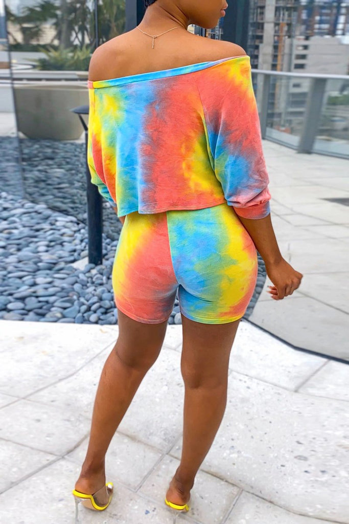 Off The Shoulder Knotted Tie Dye Top & Shorts