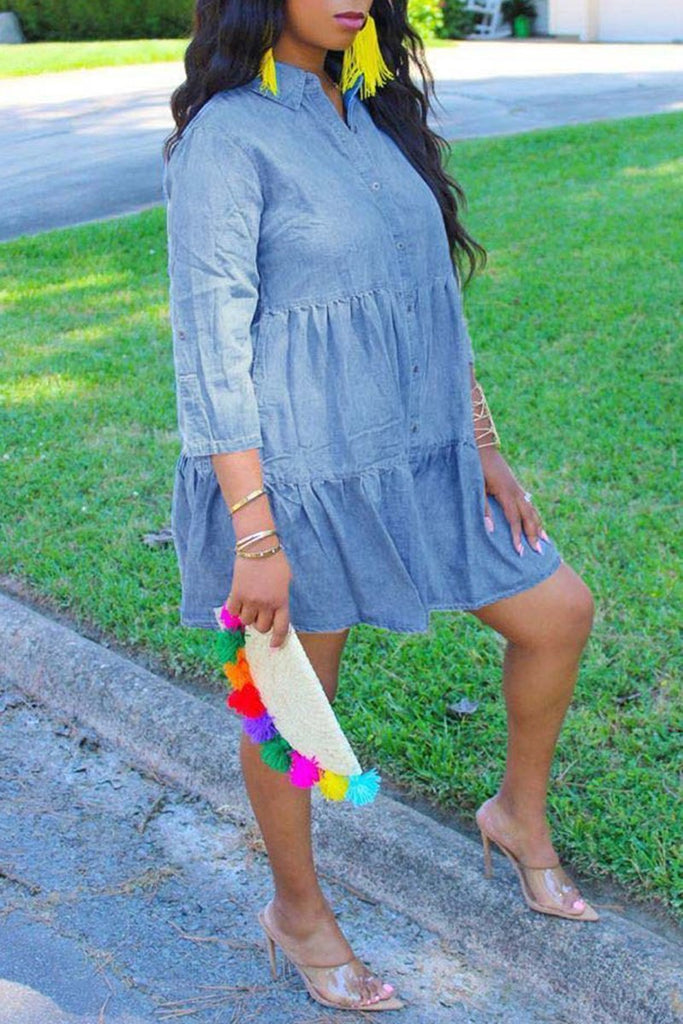 Denim Ruffled Button Up Plus Size Dress