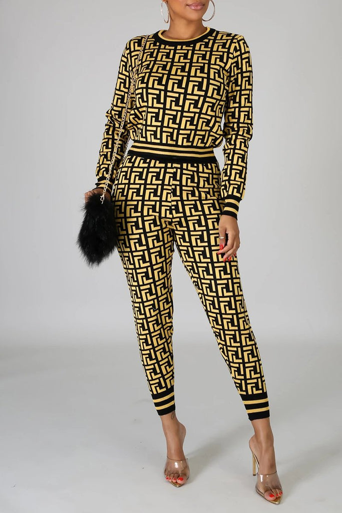 Digital Print Edge Stripe Long Sleeve Two Piece Outfits