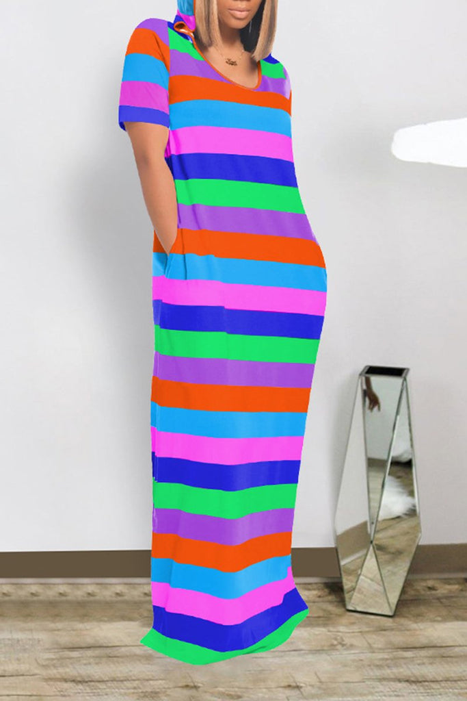 Hooded Collar Rainbow Striped Maxi Dress