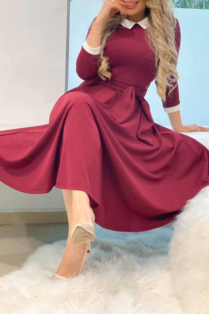 Solid Color Long Sleeve Belted Midi Dress