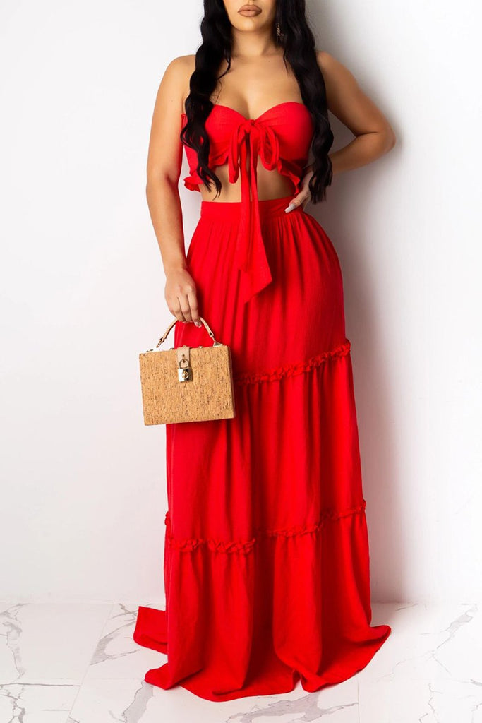 Bowknot Strapless Solid Color Two Piece Dresses