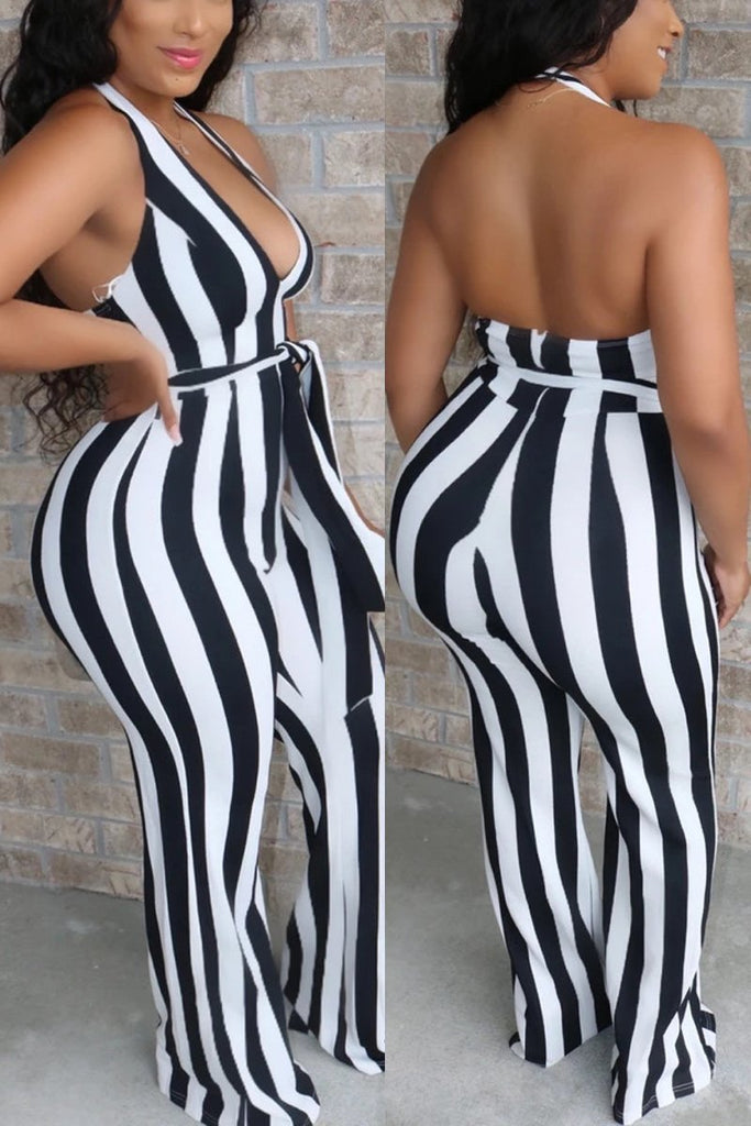 Stripe Print Halter Neck Open Back Jumpsuit