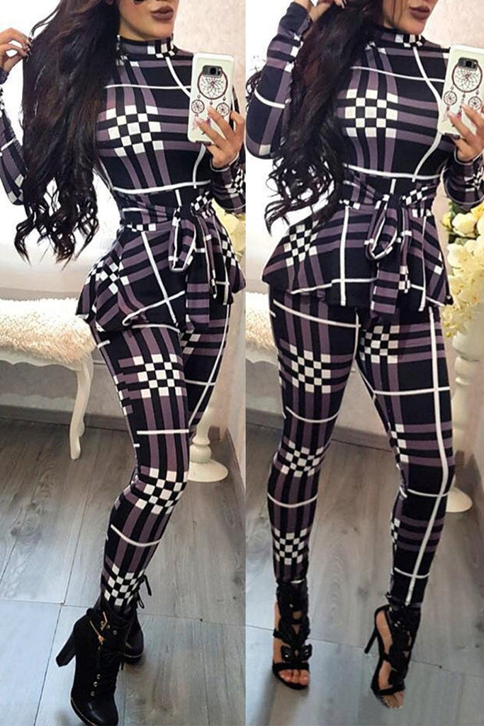 Plaid Print Lace-up Long Sleeve Jumpsuit