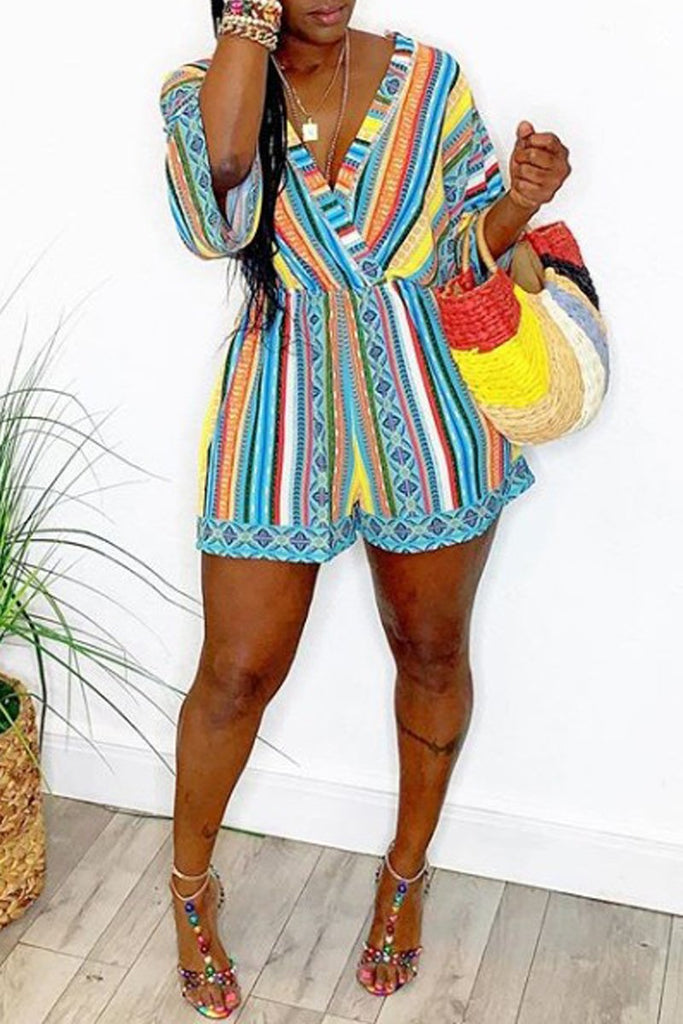 Deep V-Neck Rainbow Striped Romper
