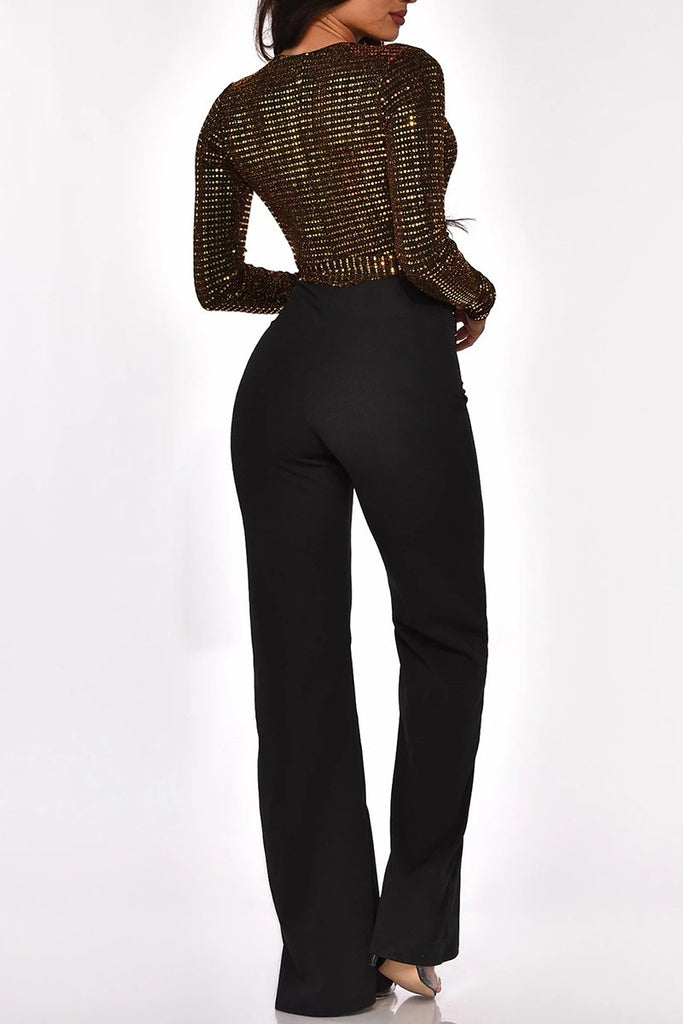 Sequins Deep V-Neck Jumpsuit With Belt