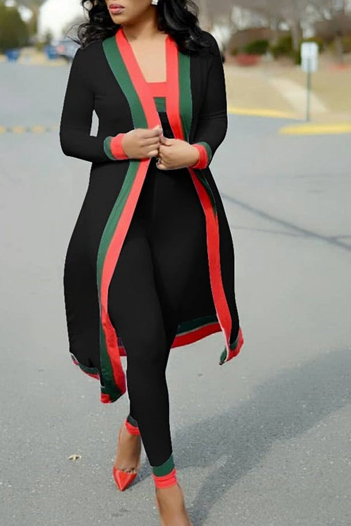 Long Sleeve Stripe High Waist  Casual Three Piece Sets