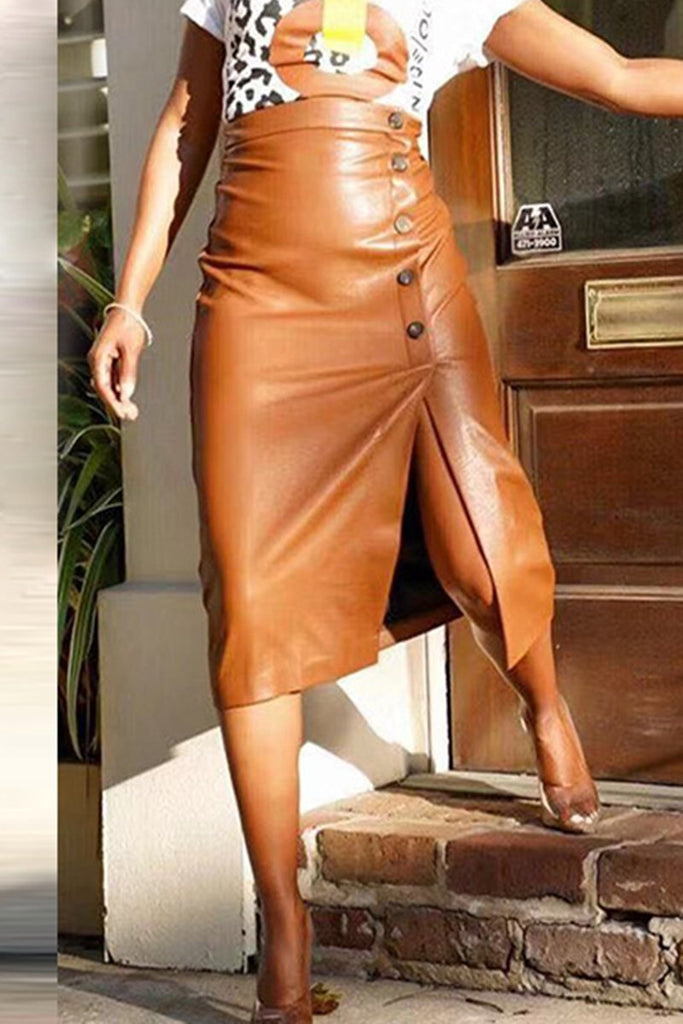 Leather Button Up Side Slit Midi Skirt