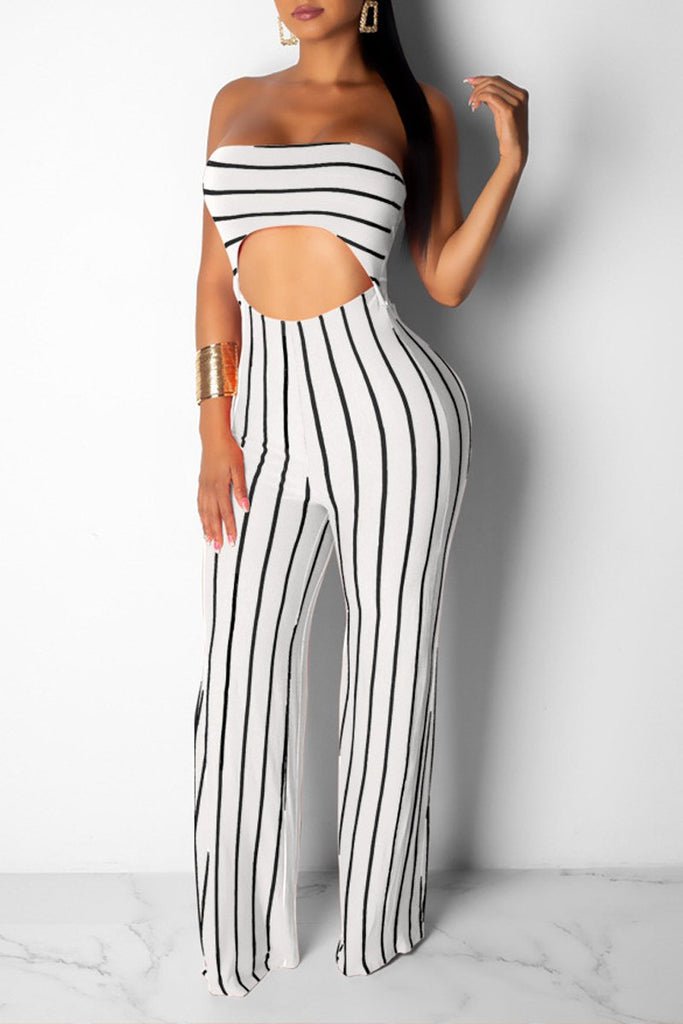 Hollow Out Stripe Print Open Back Jumpsuit