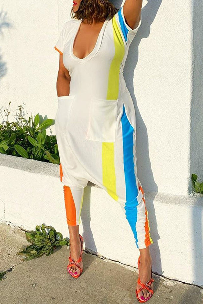 Stripe Patchwork Deep V Neck Jumpsuit