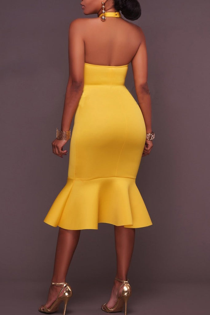 Halter Neck Open Back Mermaid Midi Dress