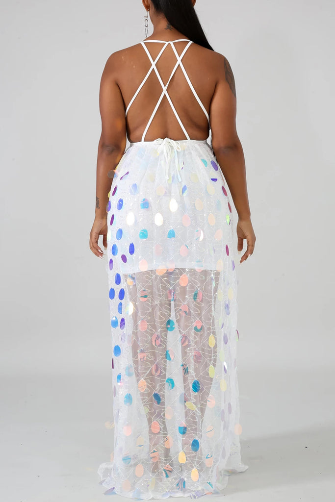 See-through Bandage Sequin Maxi Dress