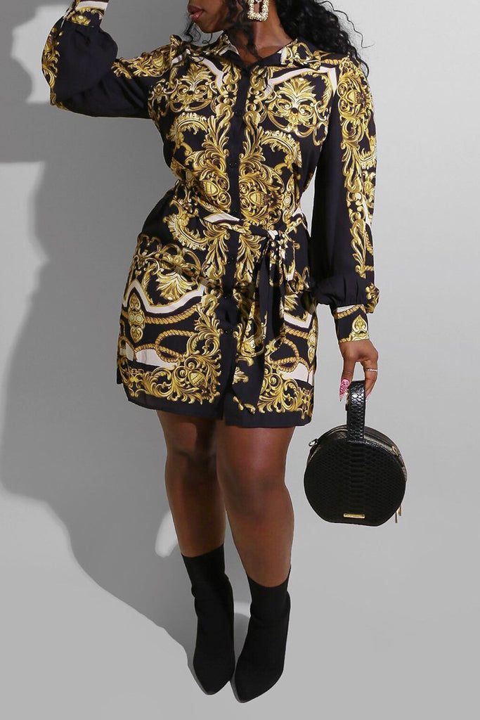 Digital Print Puff Sleeve Button Dress With Belt