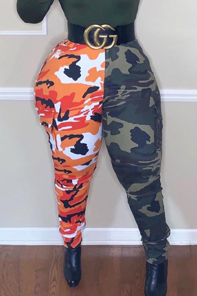 Camouflage Print Splicing Casual Pants