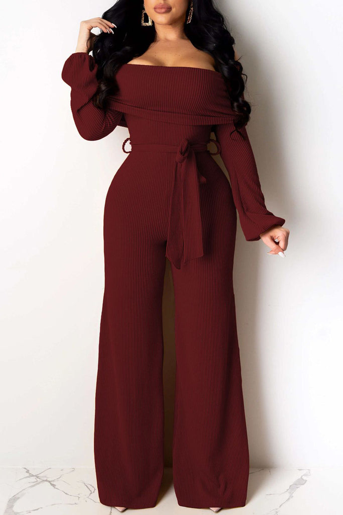 Off The Shoulder Lace-up Sexy Jumpsuit