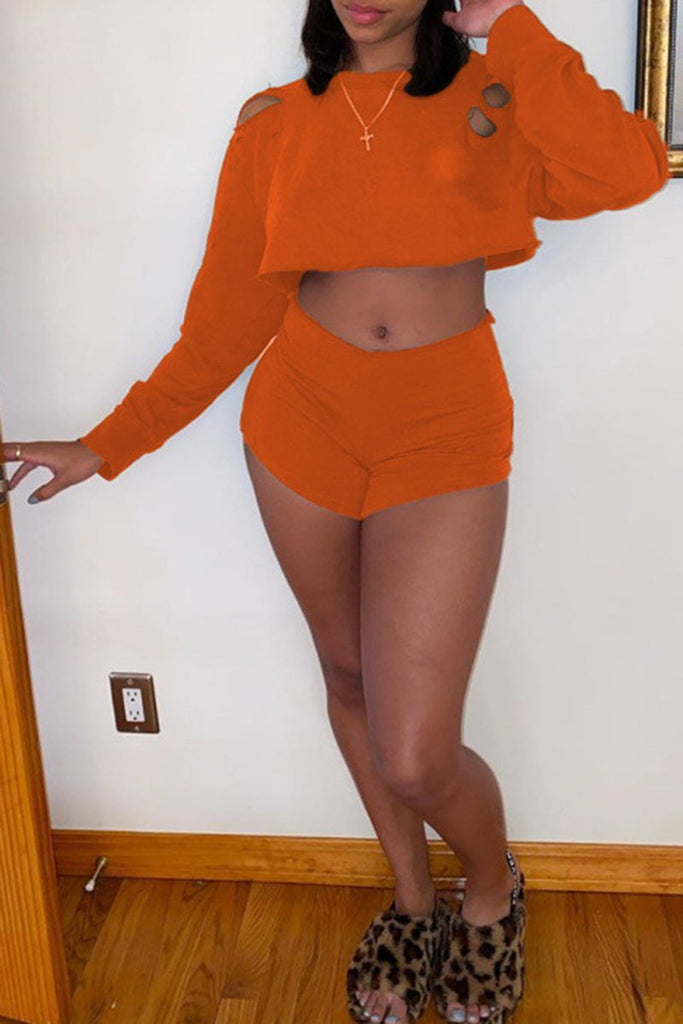 Hole High Waist Solid Color Two Piece Sets