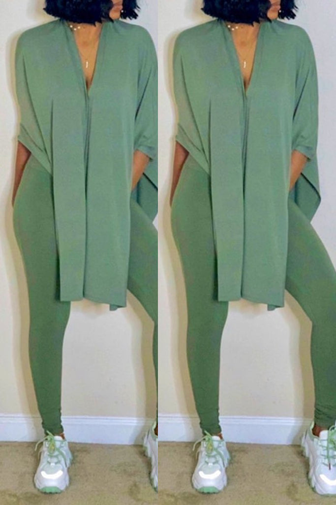 Slit Hem Solid Color Plus Size Top & Pants