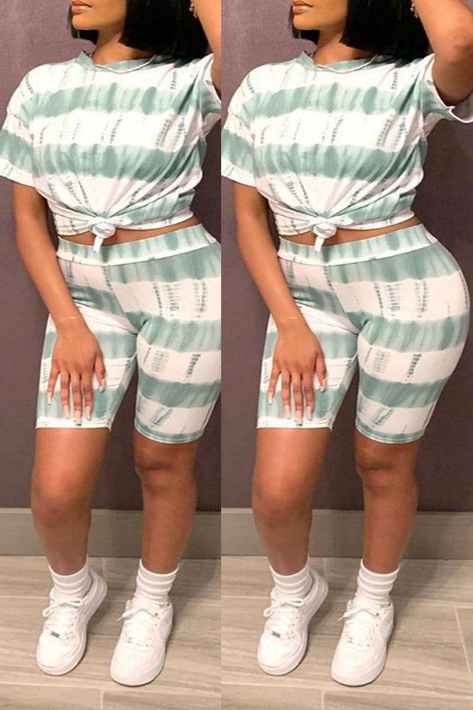 Tie Dye Striped Plus Size Top & Shorts