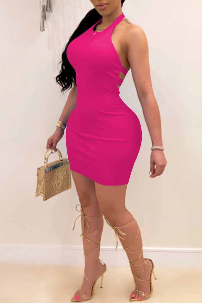 Halter Neck Back Bandage Sleeveless Dress