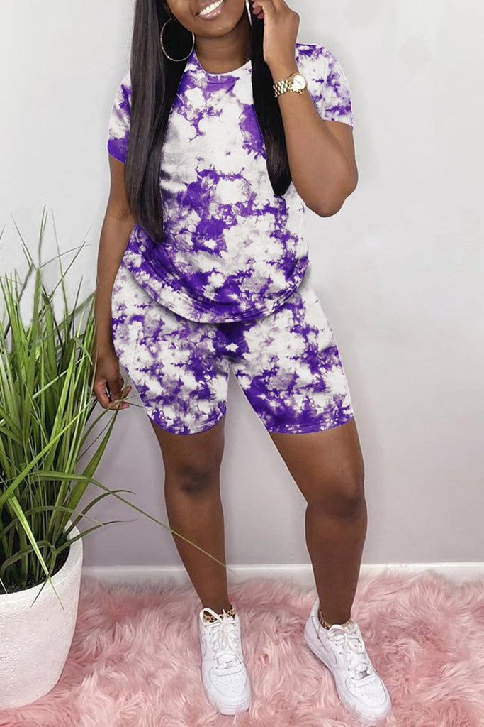 Plus Size Tie Dye Short Sleeve Two Piece Sets