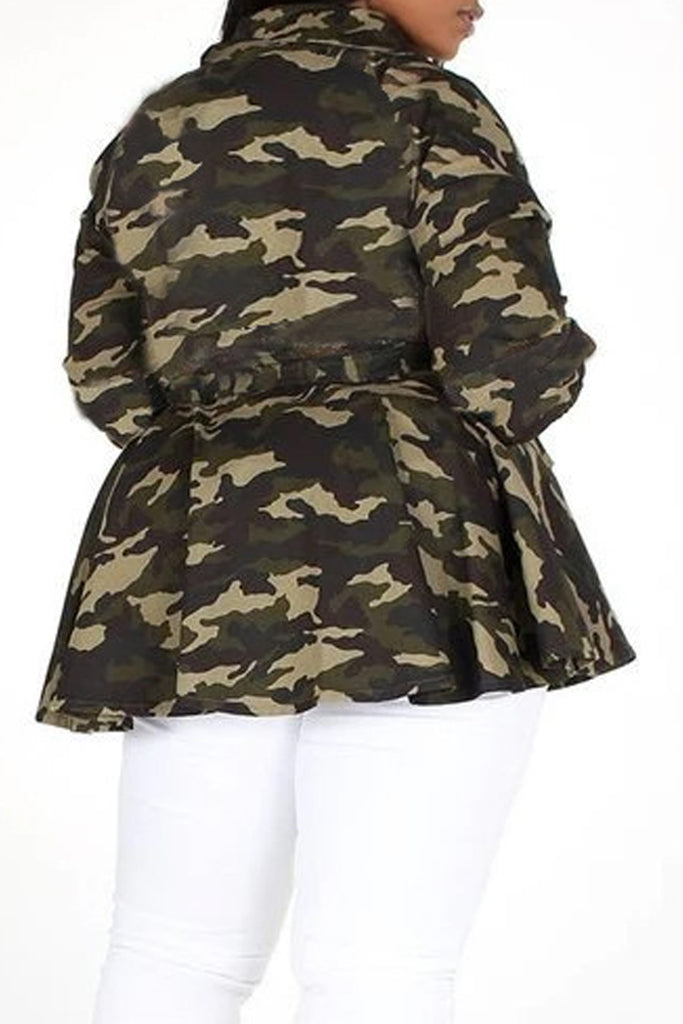 Plus Size Camouflage Printed Lace-up Coat
