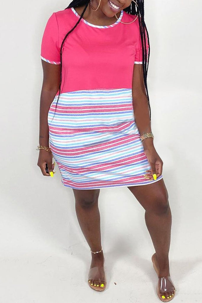 Rainbow Striped Patchwork Mini Dress