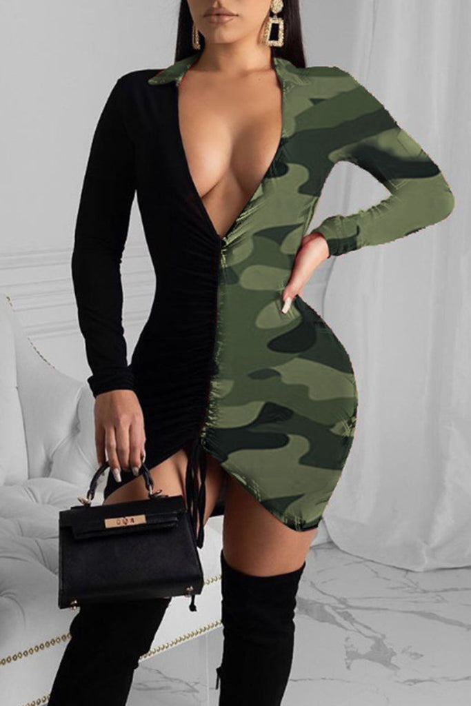 V-Neck Camouflage Splicing Drawstring Dress