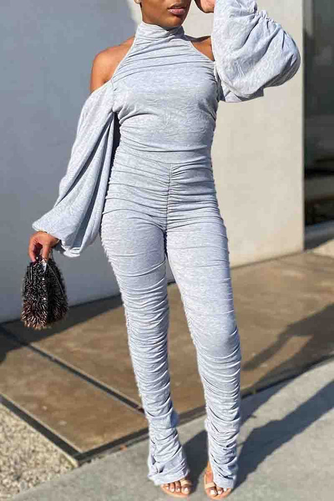 Wrinkled Puff Sleeve Open Back Jumpsuit