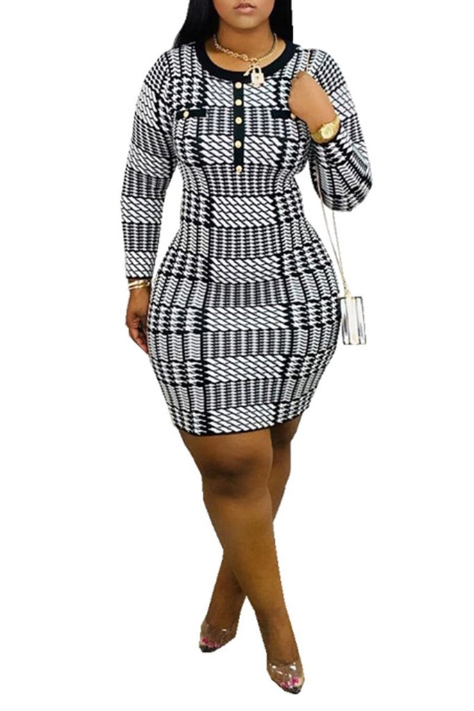 Lattice Button Up Long Sleeve Mini Dress
